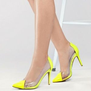 NEW🔥 Pointed Toe Clear PVC Pump Sandals Shoes